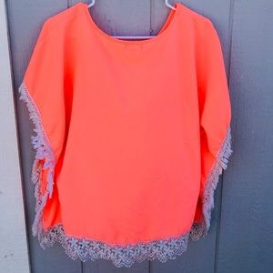 Bright Blouse- with Flower edging!